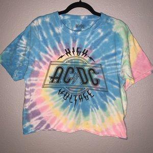 ☀️vintage AC/DC Tie dye short sleeve tee- L